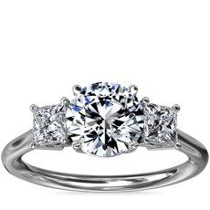 新款铂金三石公主方形钻石订婚戒指(1/3 克拉总重量)