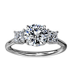 NEW Three-Stone Princess Diamond Engagement Ring in Platinum (1/3 ct. tw.)