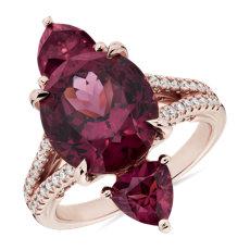 新款 18k 玫瑰金三石紅石榴石戒指