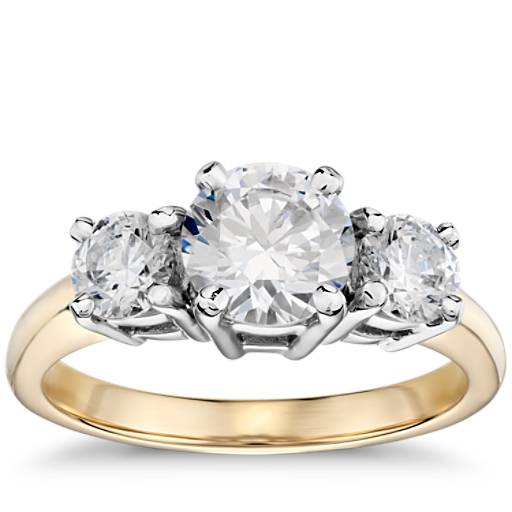 Classic Three Stone Diamond Engagement Ring In 18k Yellow
