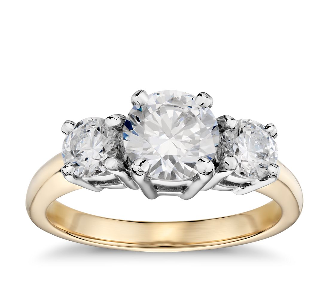 Classic Three Stone Diamond Engagement Ring In 18k Yellow Gold Blue Nile