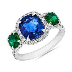 NEW Three Stone Sapphire and 祖母绿戒指 with 钻石光环 in 18k 白金