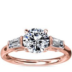 Three-Stone Tapered Baguette Diamond Engagement Ring in 18k Rose Gold (1/4 ct. tw.)