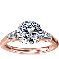 Three-Stone Tapered Baguette Diamond Engagement Ring in 18k Rose Gold (1/2 ct. tw.)