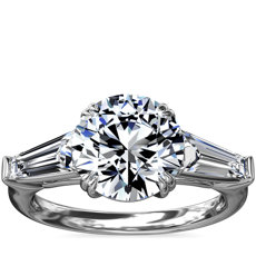 Three-Stone Tapered Baguette Diamond Engagement Ring in Platinum (5/8 ct. tw.)