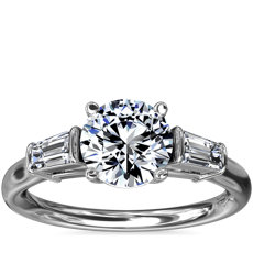 Three-Stone Tapered Baguette Diamond Engagement Ring in Platinum (1/4 ct. tw.)