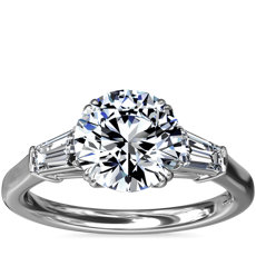 Three-Stone Tapered Baguette Diamond Engagement Ring in Platinum (1/2 ct. tw.)