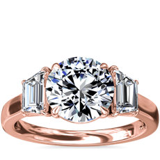 NEW Three-Stone Trapezoid Sidestone Diamond Engagement Ring in 18k Rose Gold (1 ct. tw.)
