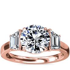 NEW Three-Stone Trapezoid Sidestone Diamond Engagement Ring in 18k Rose Gold (1 ct. tw.)