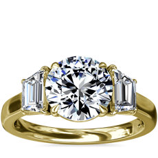 Three-Stone Trapezoid Sidestone Diamond Engagement Ring in 18k Yellow Gold (1 ct. tw.)