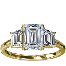 NEW Three-Stone Trapezoid Sidestone Diamond Engagement Ring in 18k Yellow Gold (1/2 ct. tw.)