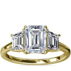 新款 18k 金三石梯形辅石钻石订婚戒指(1/2 克拉总重量)