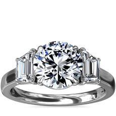 Three-Stone Trapezoid Sidestone Diamond Engagement Ring in Platinum (1 ct. tw.)