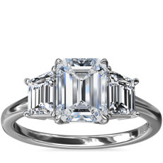 NEW Three-Stone Trapezoid Sidestone Diamond Engagement Ring in Platinum (1/2 ct. tw.)