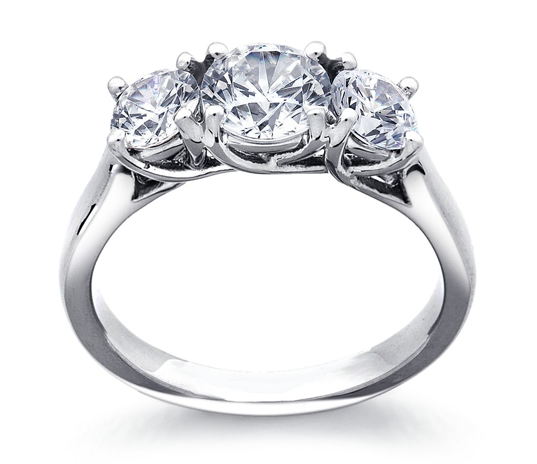 Engagement Rings No Stone: Three-Stone Trellis Diamond Engagement Ring In Platinum