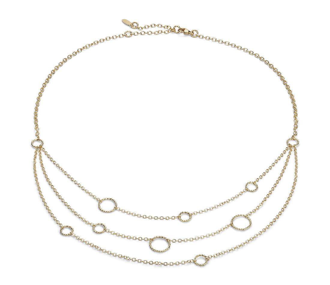 Three Strand Necklace in 14k Yellow Gold