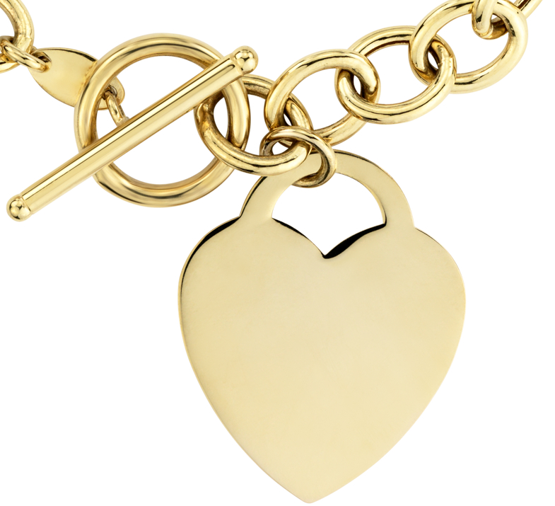 Toggle Heart Tag Necklace in 14k Yellow Gold