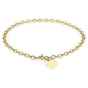 Collar con dije en forma de corazón con broche de botón en oro amarillo de 14k