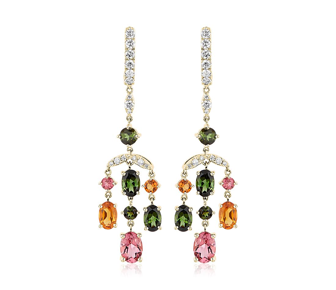 Tourmaline and Citrine Diamond Chandelier Earrings in 14k Yellow Gold
