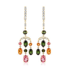 NEW Tourmaline and Citrine Diamond Chandelier Earrings in 14k Yellow Gold