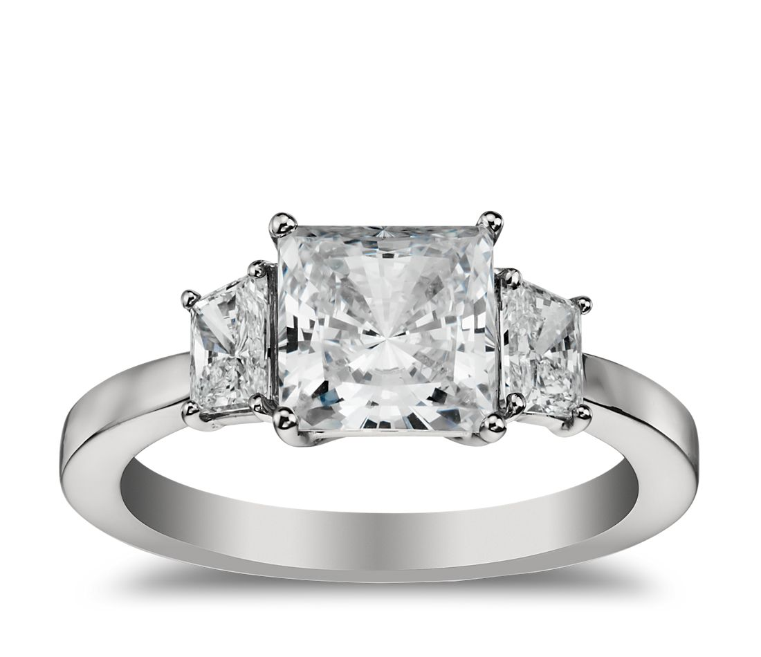 Trapezoid Diamond Engagement Ring in Platinum