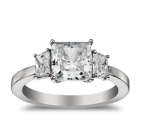 Trapezoid Diamond Engagement Ring in Platinum (1/2 ct. tw.)