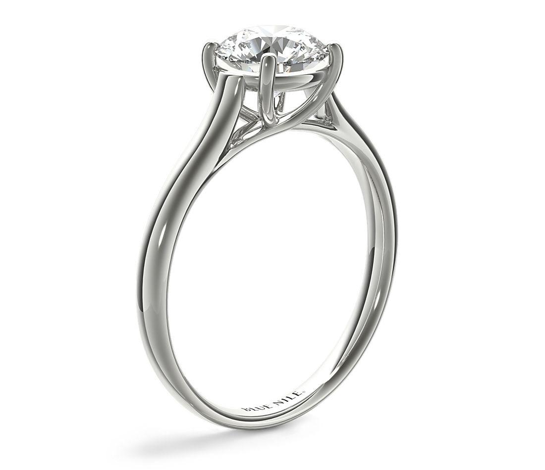 Trellis Solitaire Engagement Ring In 14k White Gold Blue