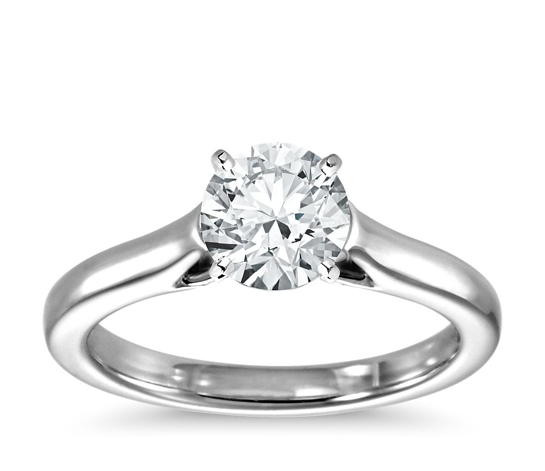 269581754e096 Trellis Solitaire Engagement Ring in 14k White Gold
