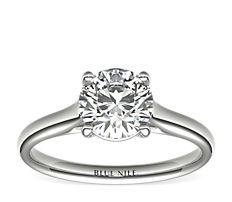 14k 白金小涼亭單石訂婚戒指