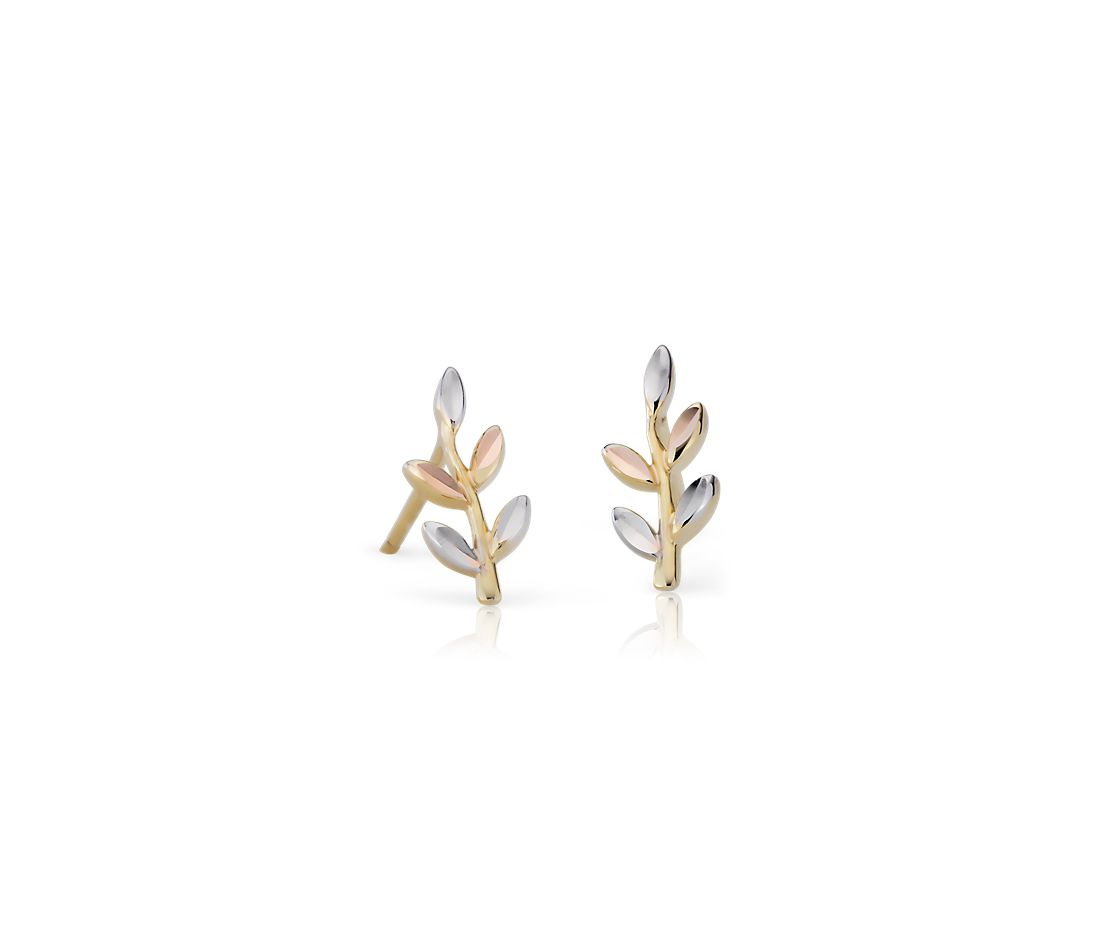Tri Color Leaf Earrings In 14k Yellow Rose And White Gold