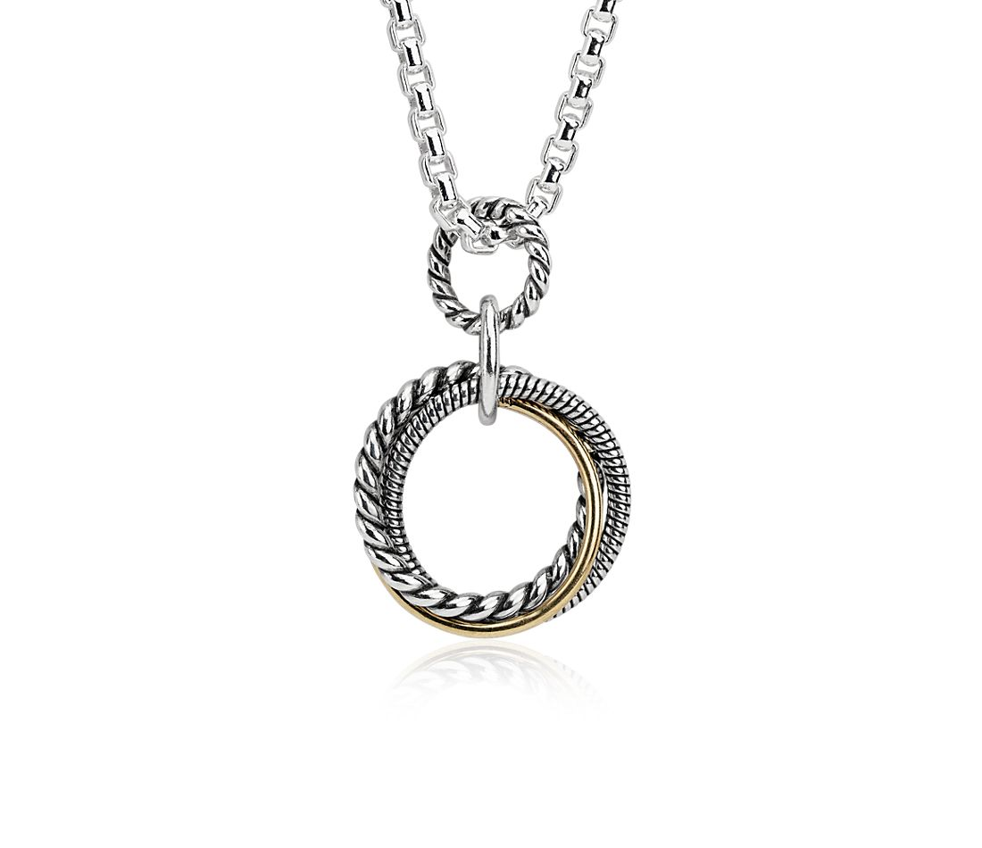 "Infinity Trio Long Box Chain Pendant in Sterling Silver and 14k Yellow Gold (32"")"