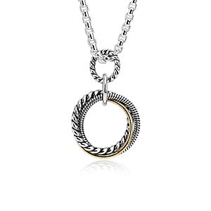 """Infinity Trio Long Box Chain Pendant in Sterling Silver and 14k Yellow Gold (32"""")"""