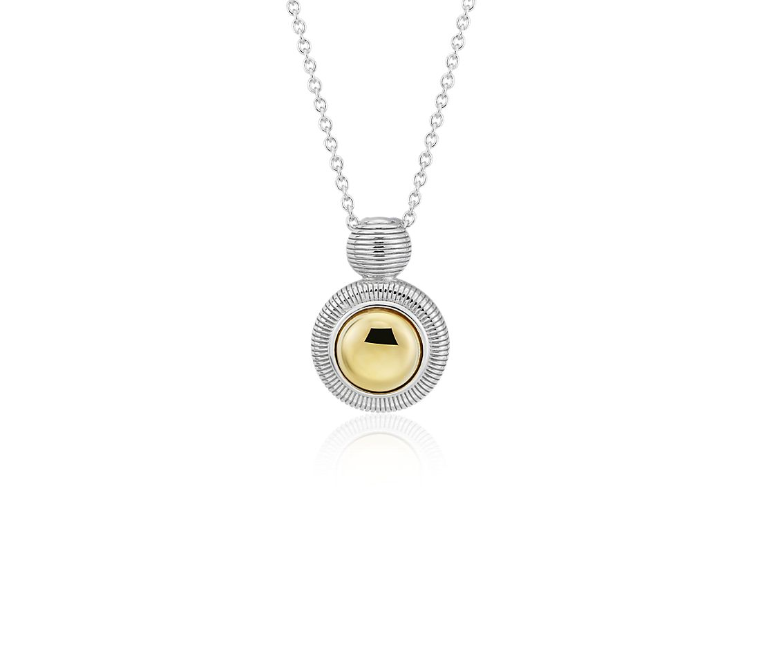 Two-Tone Pendant in Sterling Silver and Yellow Gold Vermeil