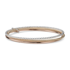 Tri-Colour Bangle in Yellow Gold Vermeil, Rose Gold Vermeil and Sterling Silver