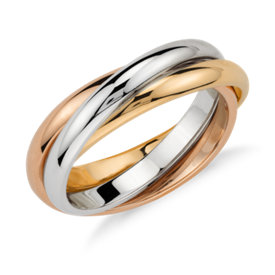 Tres anillos entrelazados en oro tricolor de 18k