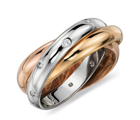 18K 黃金、白金和玫瑰金 滾動星光鑽石永恆戒指
