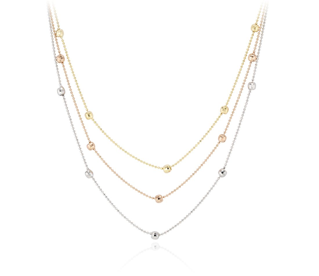 Tri Color Layered Disco Ball Necklace in 14k Yellow, Rose and White Gold