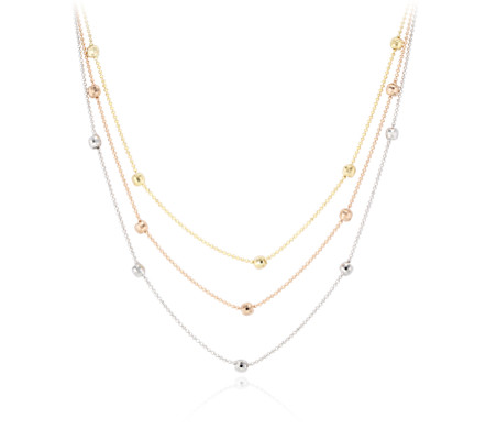 Blue Nile Stationed Marquise Layered Necklace in 14k Italian Yellow Gold vTUgCPdxfo