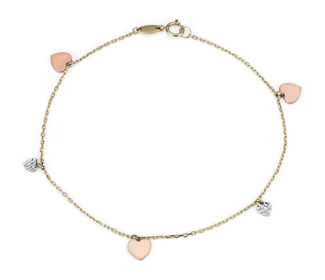 Tri-Color Petite Stationed Heart Bracelet in 14k White, Yellow, and Rose Gold