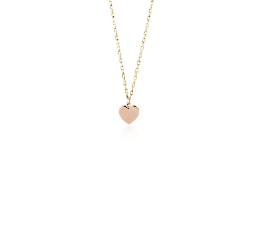 Tri-Color Petite Stationed Heart Necklace in 14k White, Yellow, and Rose Gold