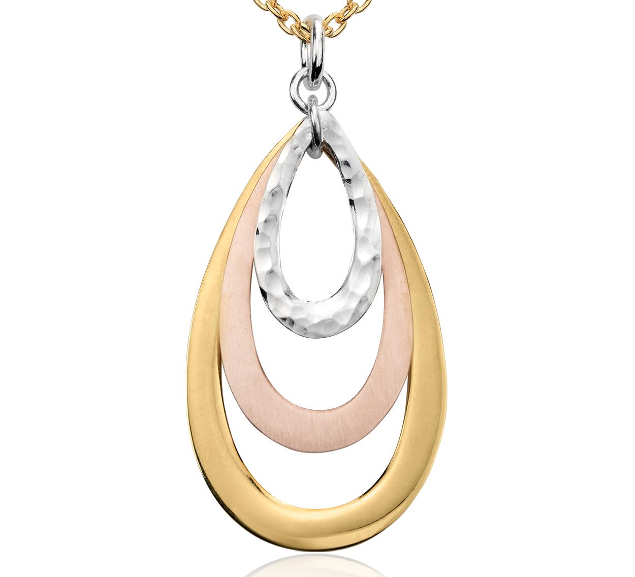 Colgante en forma de lágrima en plata bañada en oro y plata de tres colores