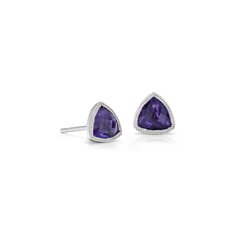 Trillion Amethyst Earrings with Milgrain Detail in 14k White Gold