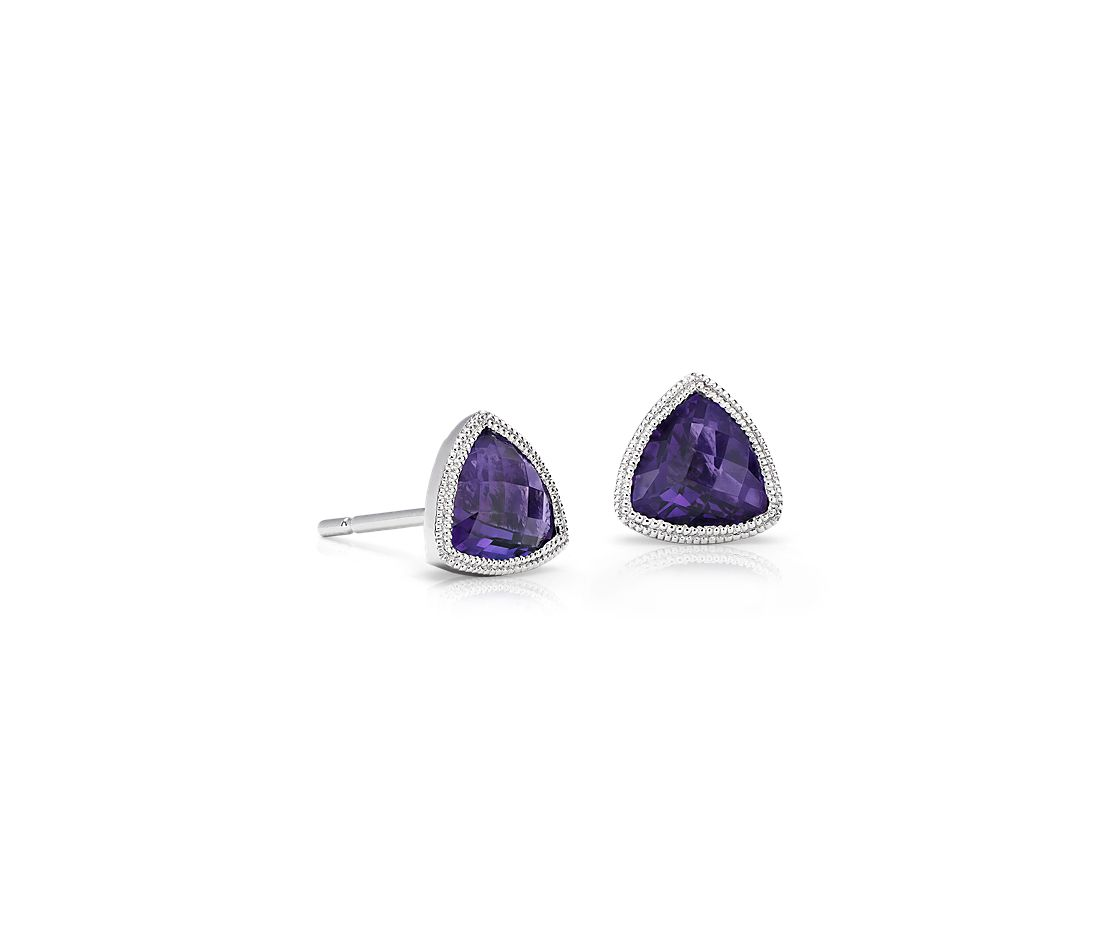 Trillion Amethyst Earrings With Milgrain Detail In 14k White Gold 6mm