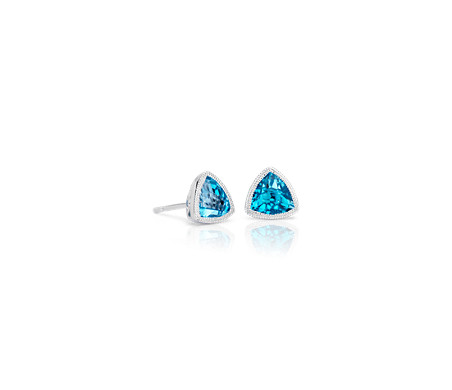 Trillion Blue Topaz Earrings with Milgrain Detail in 14k White Gold (6mm)
