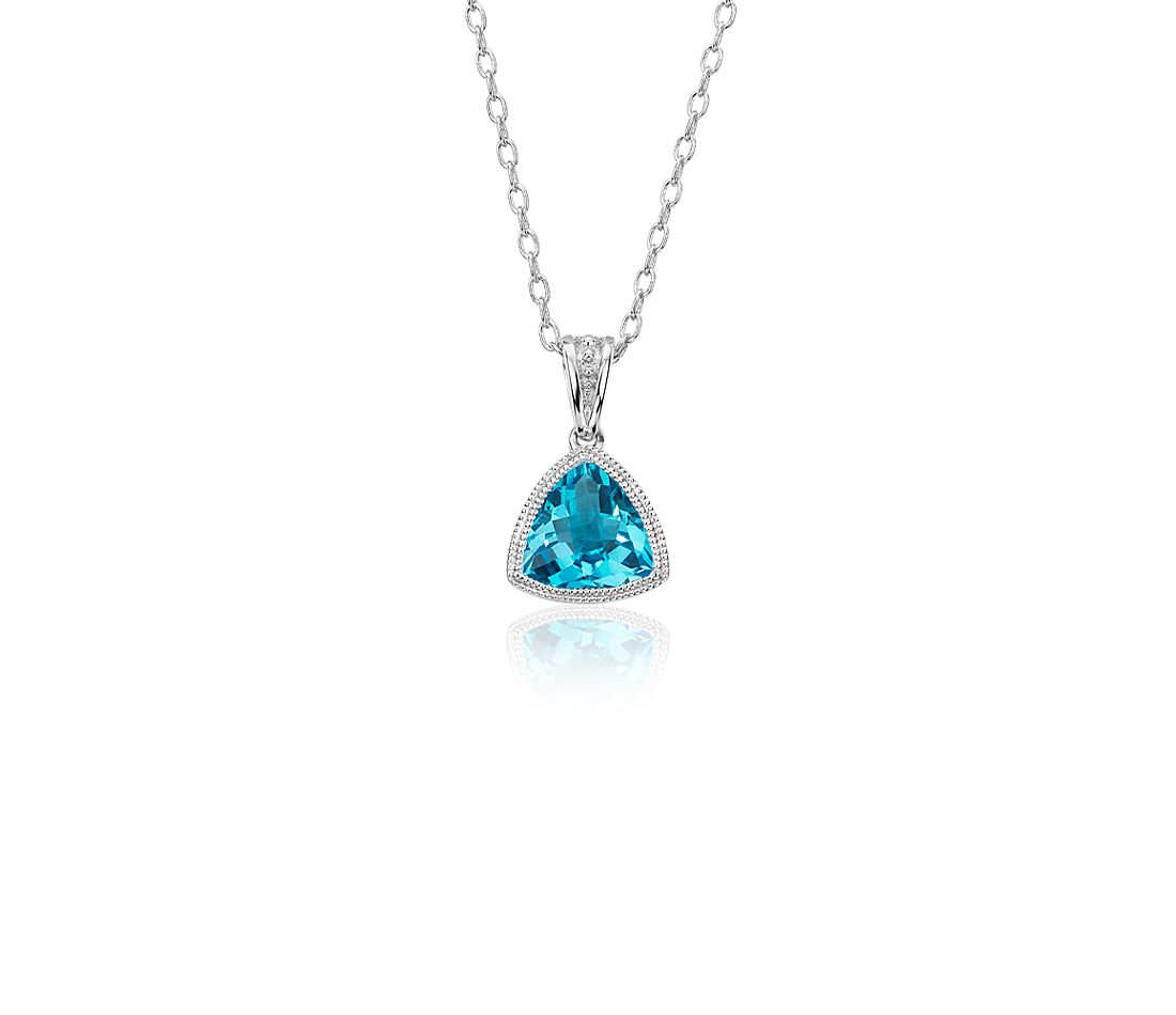 Trillion Blue Topaz Pendant with Milgrain Detail in 14k White Gold (7mm)