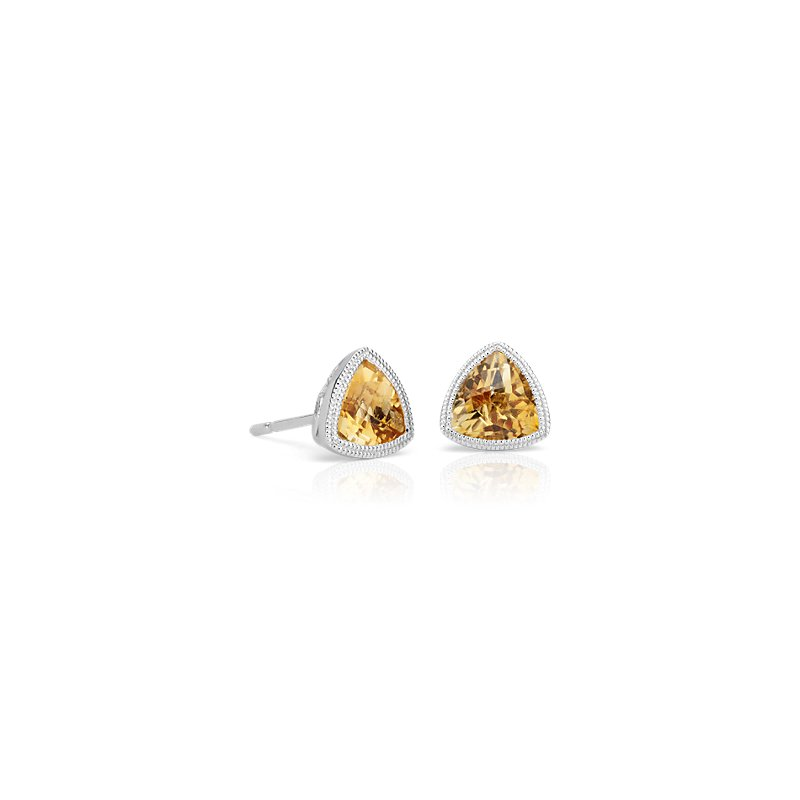 Trillion Citrine Earrings with Milgrain Detail in 14k White Gold
