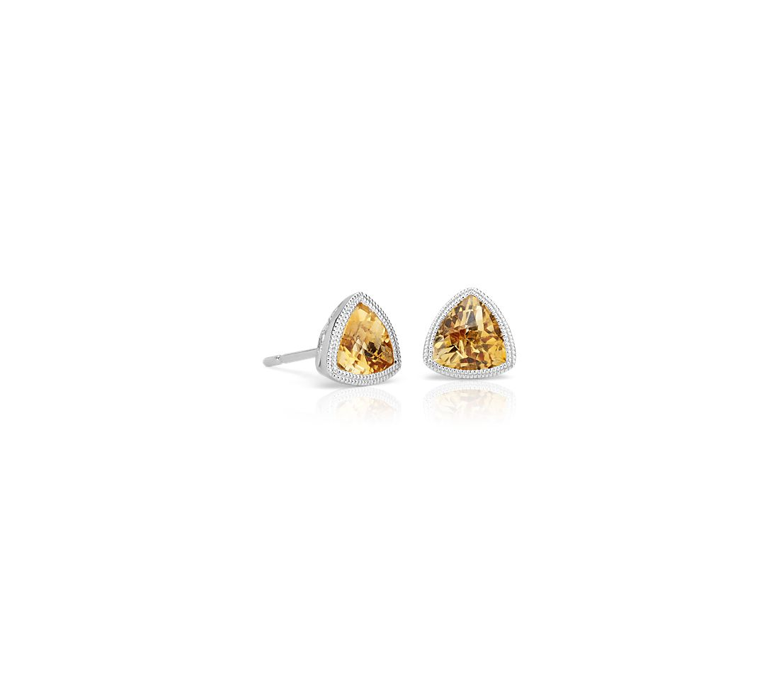 Trillion Citrine Earrings with Milgrain Detail in 14k White Gold (6mm)