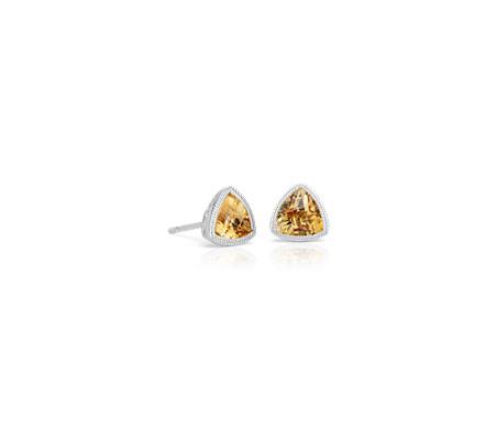 Trillion Citrine Earrings with Milgrain Detail in 14k White Gold (6mm)