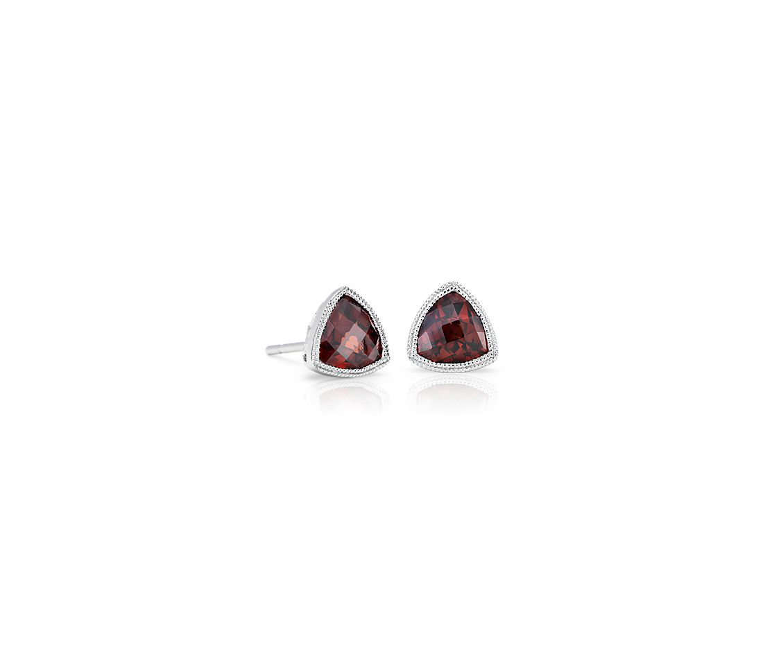 Trillion Garnet Earrings with Milgrain Detail in 14k White Gold (6mm)