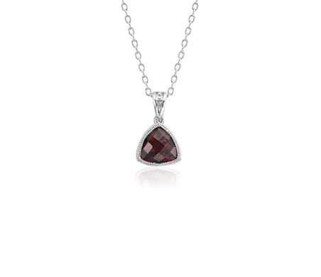 Blue Nile Trillion Garnet Pendant with Milgrain Detail in 14k White Gold (7mm) LdGYw